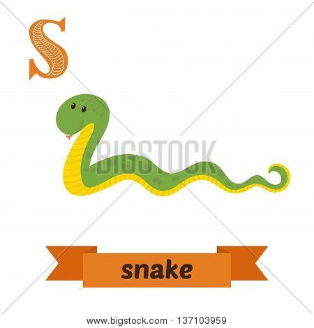 Snake. S Letter. Cute Children Animal Alphabet In Vector. Funny Cartoon Animals
