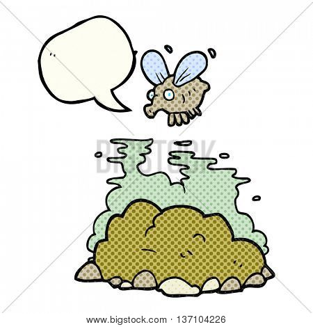 freehand drawn comic book speech bubble cartoon fly and manure