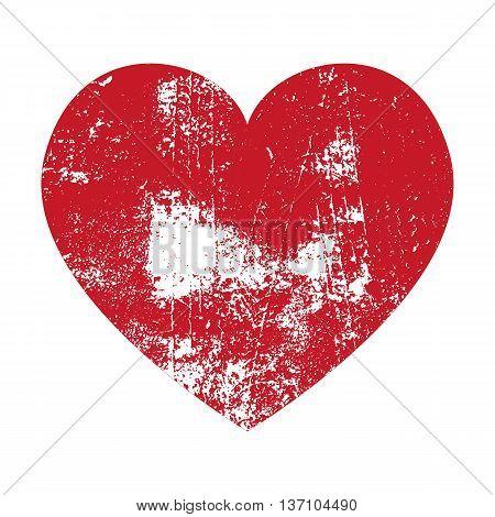 Grunge Heart. Red Heart. Heart Shape. Distressed Heart. Heart Texture. Valentine's Day Heart. Heart Background. Brush Stroke Heart. Vector Heart.