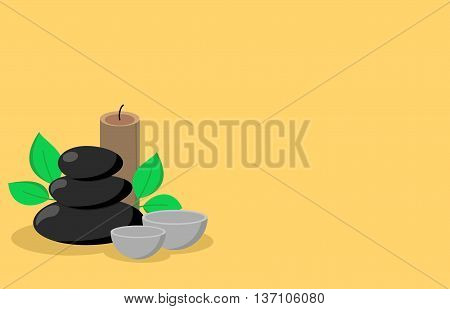 Spa stones and herbs vector banner design