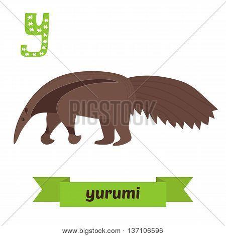 Yurumi. Y Letter. Anteater. Cute Children Animal Alphabet In Vector. Funny Cartoon Animals