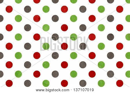 Watercolor Green, Dark Red And Grey Polka Dot Background.