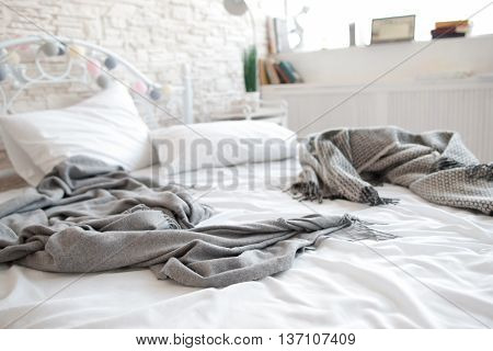 Bed Mess Awakening Bedroom Lovers Morning Unmade Hotel Insomnia Concept