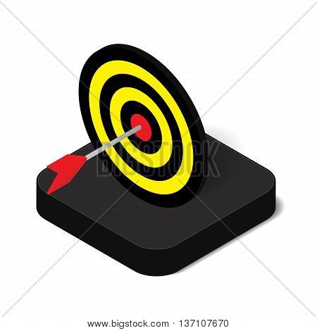 3D isometric arrow target hitting in bullseye of dartboard icon for business accuracy and sport concept vector illustration design isolated on white background