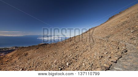 View of the Canary Islands from a volcano of Teide