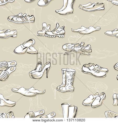 Hand drawing various types of different footwear. Seamless pattern of shoes sketch male and female shoes sandals boots moccasins rubber boots and else. Vector illustration shoes sketch background.