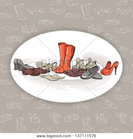 Hand drawing various types of different footwear. Shoes icons sketch male and female shoes sandals boots moccasins rubber boots and else. Vector illustration of shoes sketch on seamless background.