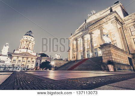 Concert Hall Berlin At Gendarmenmarkt At Night