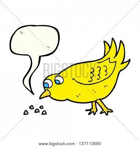freehand drawn comic book speech bubble cartoon bird pecking seeds