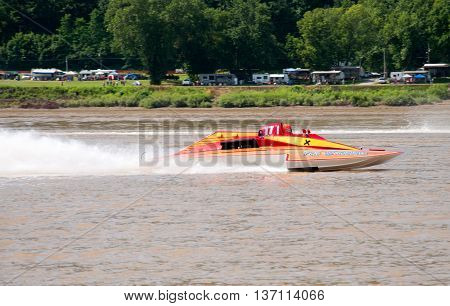 Madison Indiana - July 2 2016: Fred Shearer in The 7th Edition GNH 17 races in the Grand National Saturday qualification heat #1 at the Madison Regatta in Madison Indiana July 2 2016.