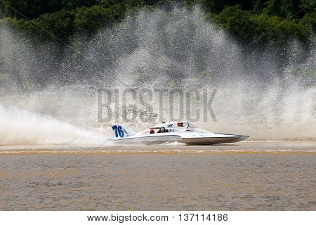 Madison Indiana - July 2 2016: Matt Mattson drives the GNH 76 in the Grand National Saturday qualification heat #1 at the Madison Regatta in Madison Indiana July 2 2016.