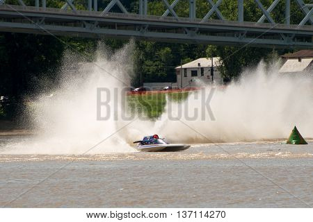 Madison Indiana - July 2 2016: Andy Denka drives the GNH 1 in the Grand National Hydroplane Qualification Heat #1 at the Madison Regatta in Madison Indiana July 2 2016.