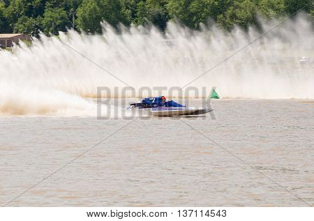 Madison Indiana - July 2 2016: Andy Denka in the GNH 1 races in the National Modified Saturday qualification heat #2 at the Madison Regatta in Madison Indiana July 2 2016.
