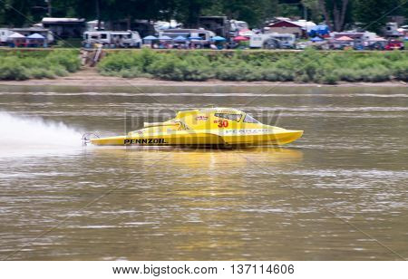 Madison Indiana - July 2 2016: Scott Liddycoat drives the NM 30 in the National Modified Saturday qualification heat #3 at the Madison Regatta in Madison Indiana July 2 2016.
