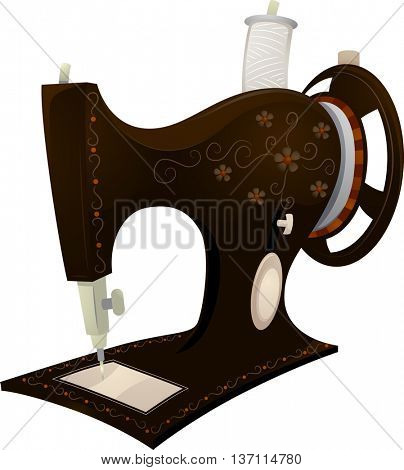 Illustration Featuring a Vintage Sewing Machine