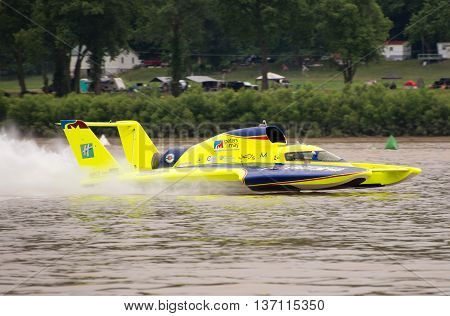 Madison Indiana - July 2 2016: Tom Thompson drives the Peters and May Unlimited Racing Group U-11 in the Morgan Foods Unlimited Heat 1B at the Madison Regatta in Madison Indiana July 2 2016.