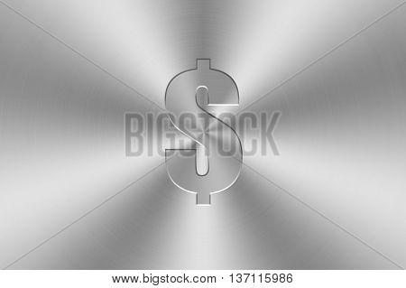 dollar icon inlay on chrome aluminium texture.