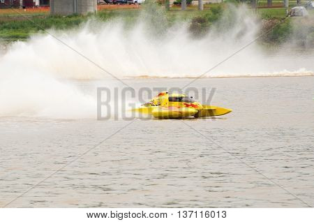 Madison Indiana - July 2 2016: Tom Newman in the NM 100 hydroplane races in the National Modified Hydroplane Final at the Madison Regatta in Madison Indiana July 2 2016.