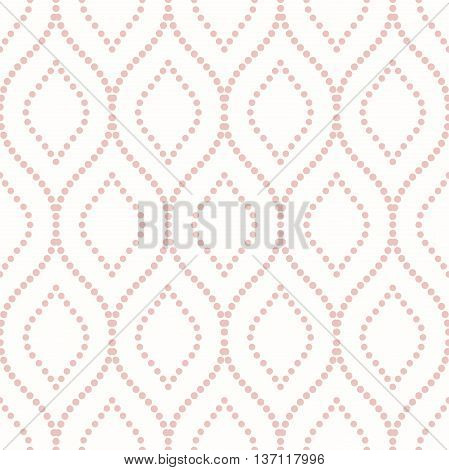 Seamless vector ornament. Modern geometric pattern with repeating dotted wavy lines. Pink and white pattern
