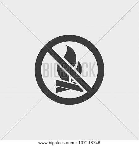 No Fire icon in a flat design in black color. Vector illustration eps10