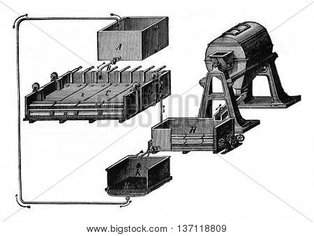 Siemens-Halske equipment for extraction of copper from its ores by electrolysis, vintage engraved illustration. Industrial encyclopedia E.-O. Lami - 1875.