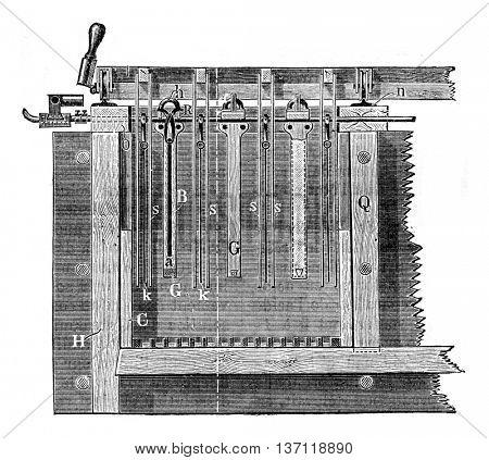 Moebius device, Longitudinal section, vintage engraved illustration. Industrial encyclopedia E.-O. Lami - 1875.