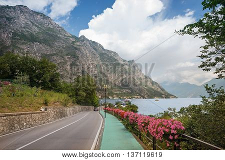 Pictorial Lakeside Road With Flower Decoration Near Limone, Garda Lake
