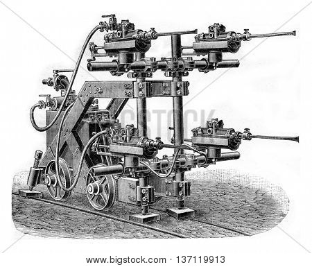 Perforator Burton with water injection lance, vintage engraved illustration. Industrial encyclopedia E.-O. Lami - 1875.