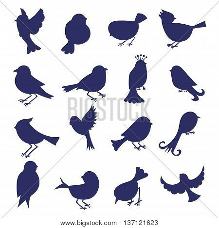 Birds silhouettes isolated on white. Set of hand drawn cartoon birds. Vector icons