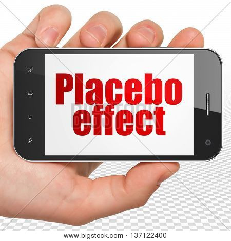 Health concept: Hand Holding Smartphone with red text Placebo Effect on display, 3D rendering