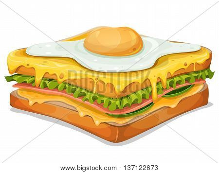 Illustration of an appetizing french sandwich fast food specialty with ham slice bread salad leaves melted cheese and fried egg