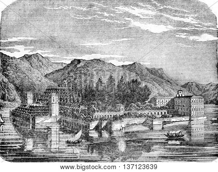 View of the Isola Bella, vintage engraved illustration. Magasin Pittoresque 1836.