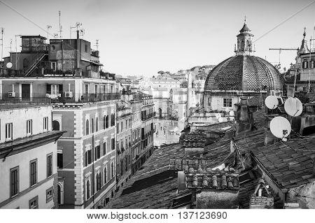 Old Rome, Italy. Via Del Corso Street View