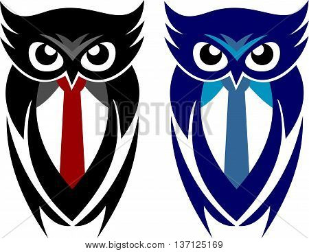 stock logo owl fashion wearing tie and dress
