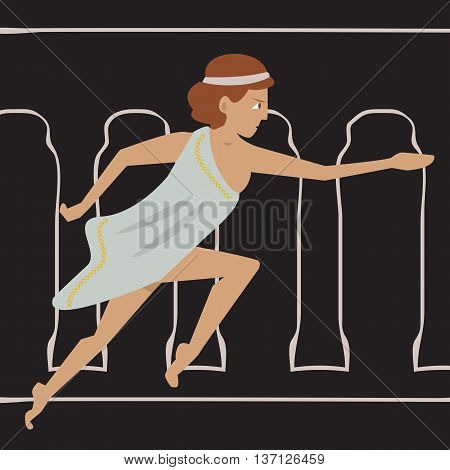 ancient female athlete running - cartoon vector illustration of women sport origins