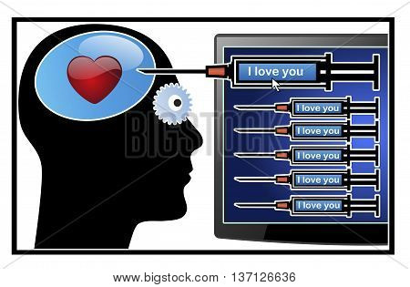 Social Media Addiction. Obsessive person in desperate search of love in social networks