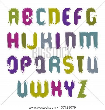 Vector acrylic hand-painted capital letters isolated on white background uppercase art script with brushstrokes frayed cartoon font.