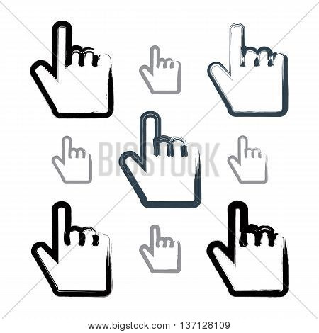 Set of point hand gestures created with real hand-drawn ink brush scanned and vectorized. Collection of monochrome brush drawing touch screen simple vector icons hand-painted user interface symbols isolated on white background.