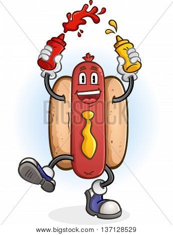 Hot Dog Squirting Ketchup and Mustard Cartoon Character