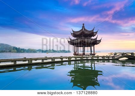 landscape of west lake in sunset hangzhou China