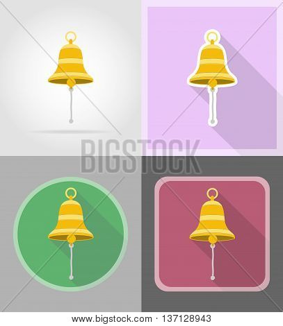 ship bell flat icons vector illustration isolated on background