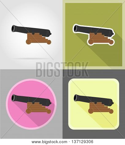 antique cannon flat icons vector illustration isolated on white background