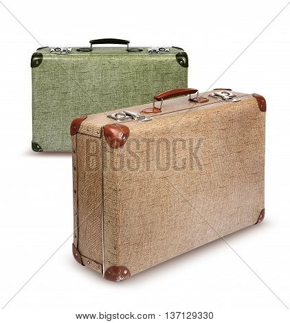 Two vintage suitcases front left isolated on white
