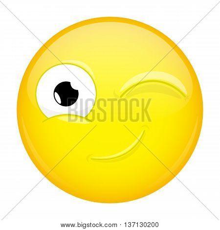 Wink emoji. Good emotion. Twinkle emoticon. Vector illustration icon.
