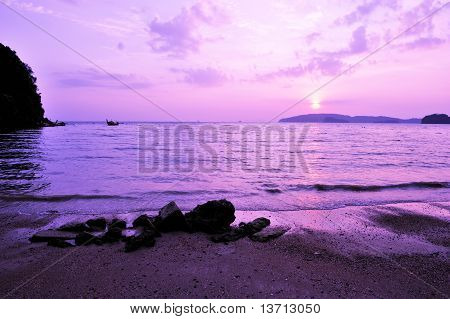 Beautiful Sunset Silhouette Longtail Boat At Beach