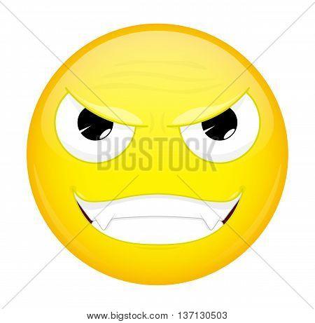 Evil emoji. Bad emotion. Wicked emoticon. Vector illustration icon.