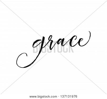 Hand drawn word Grace. Greeting quote. Ink illustration. Modern brush calligraphy. Isolated on white background. poster