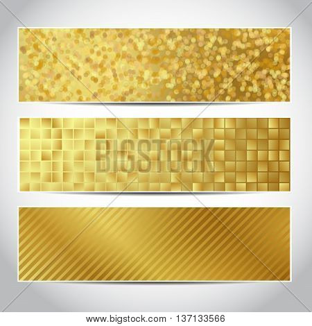 Set of trendy gold vector banners template or website headers with abstract geometric background. Vector design for your golden banners, headers, flyers. Christmas banners