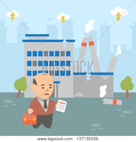 Vector clipart businessman very upset by the crisis at its factory