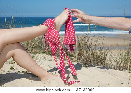 Woman With Bikini On Legs, Man Try To Catch